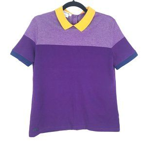 Lacoste Purple Yellow Front Back Collar Polo 42